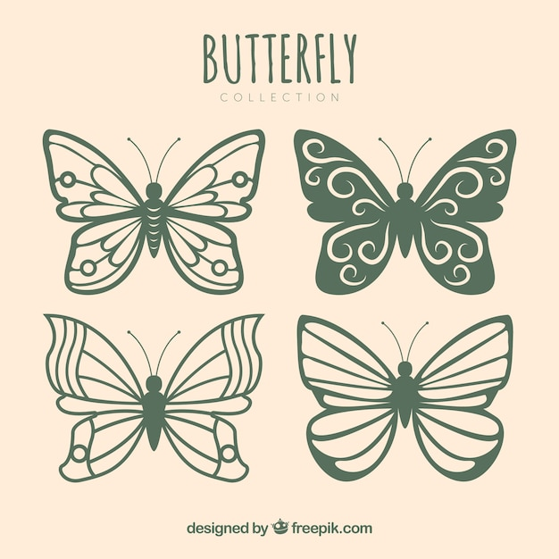Collection of pretty butterflies with different designs Free Vector