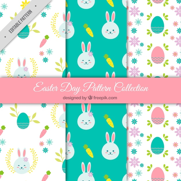 Collection of pretty easter patterns Free Vector