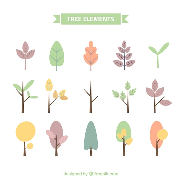 Collection of pretty trees in pastel colors Free Vector