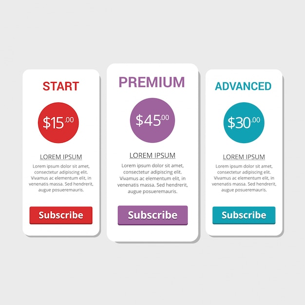 Collection of pricing plans for websites and applications ...