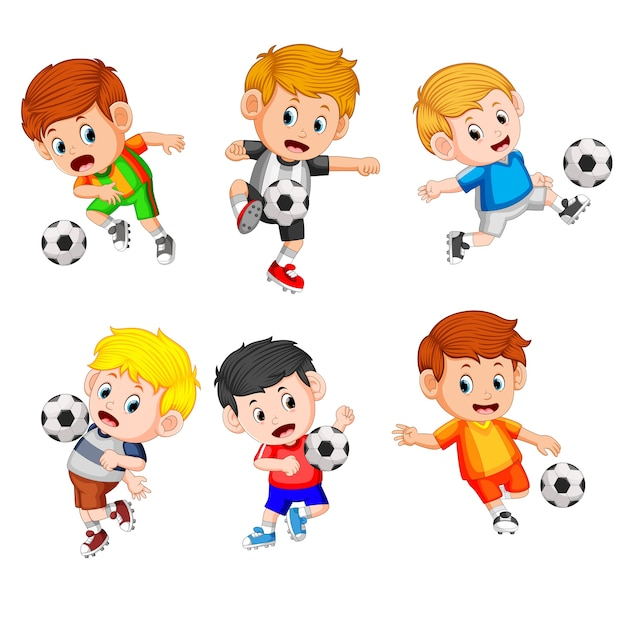 Collection of the profesional childrren play soccer Premium Vector