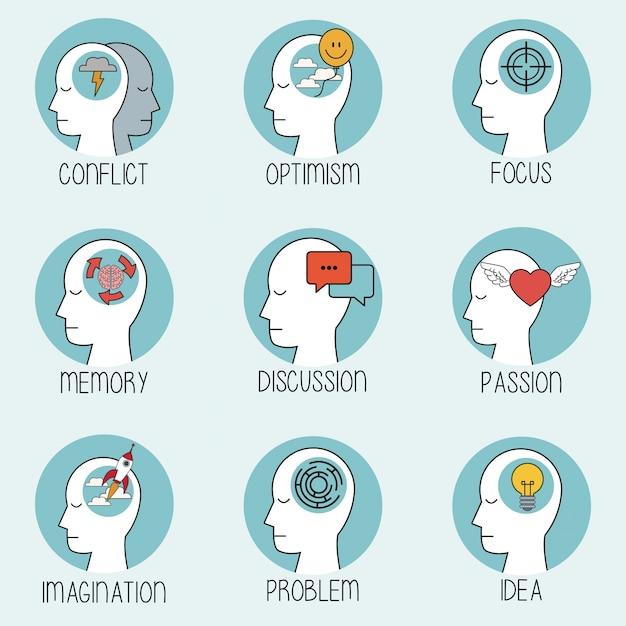 Collection profile human head brain Premium Vector