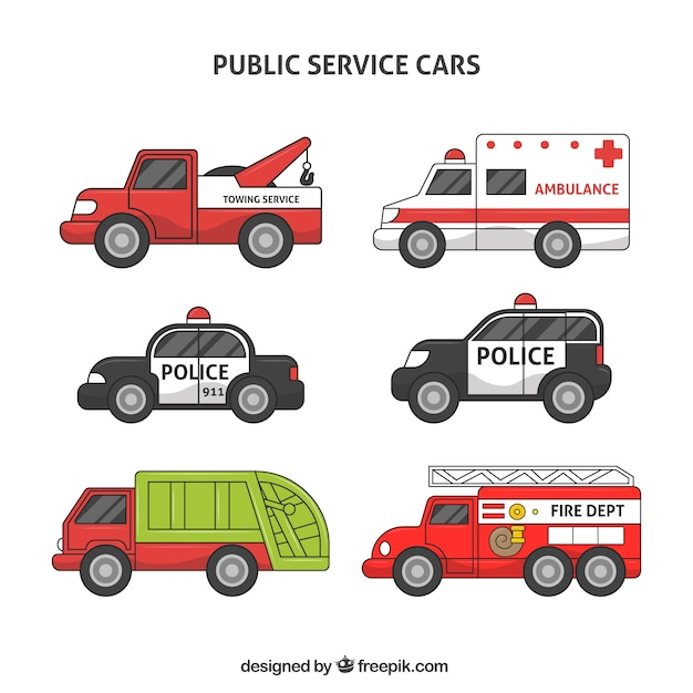Collection of public service vehicles Free Vector