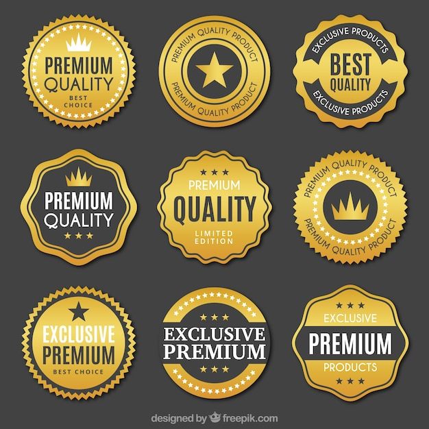 Collection of quality golden stickers Premium Vector