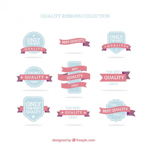 Collection quality premium badges and ribbons in flat design Premium Vector