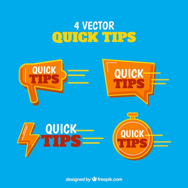 Collection of quick tips Free Vector