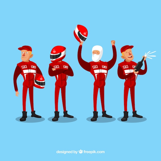 Collection of racing characters Free Vector