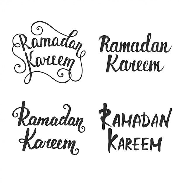 Collection of ramadan kareem modern calligraphy Premium Vector