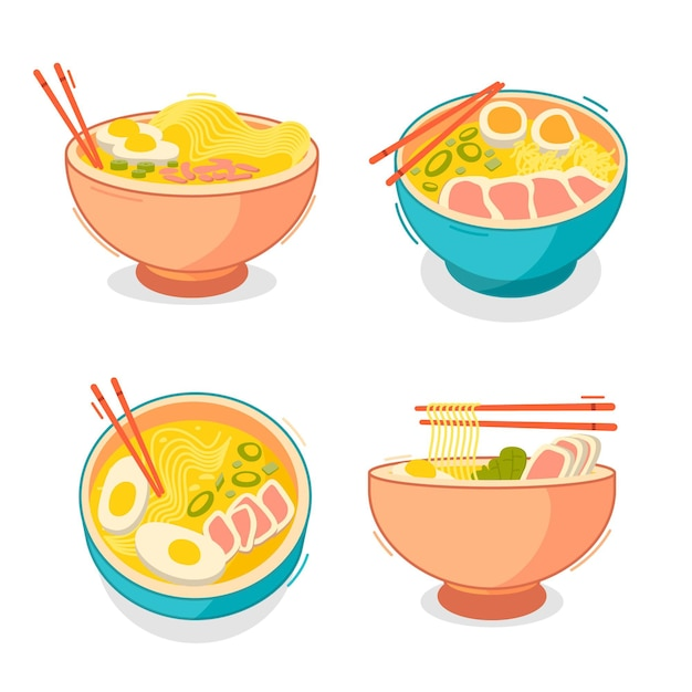 Collection of ramen soup in bowls Free Vector