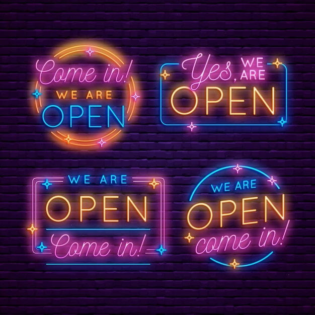 Collection of re-opening neon signs Free Vector