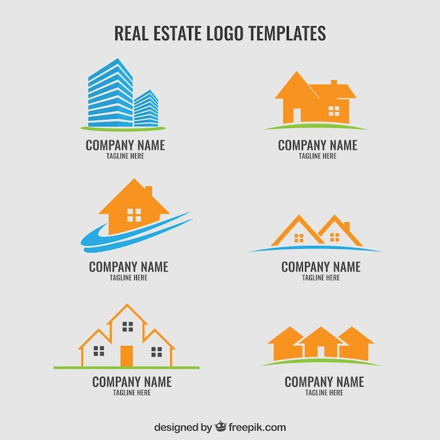 Collection of real estate logos Free Vector