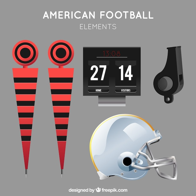 Collection of realistic american football objects Free Vector
