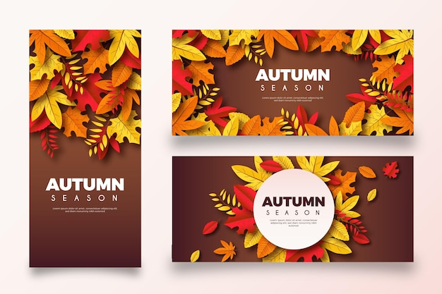Collection of realistic autumn banners Free Vector