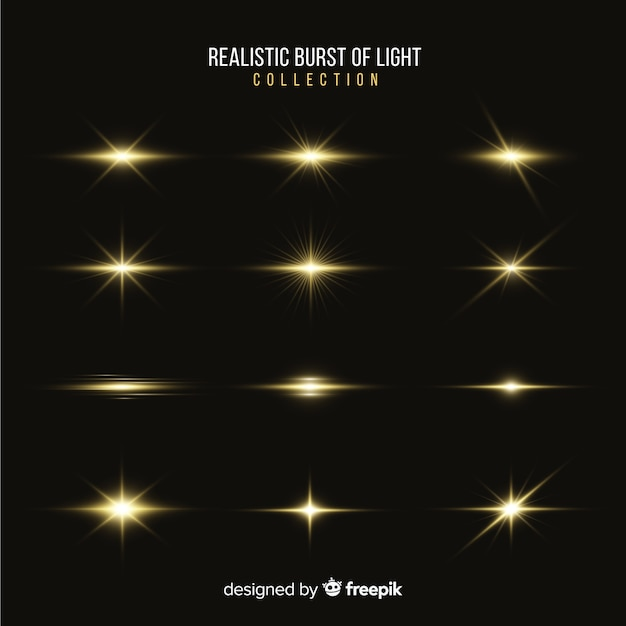 Collection of realistic bursts of light Free Vector