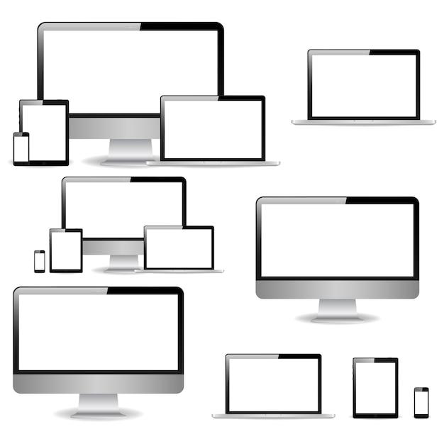 Коллекция реалистичных компьютерных мониторов, ноутбуков, планшетов и мобильных телефонов Premium векторы