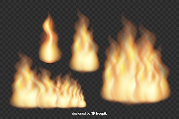 Collection of realistic fire flames Free Vector