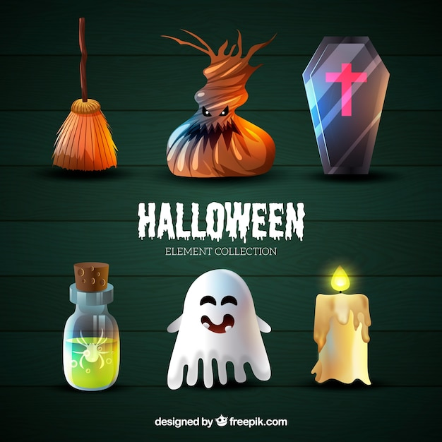 Collection of realistic halloween things Free Vector