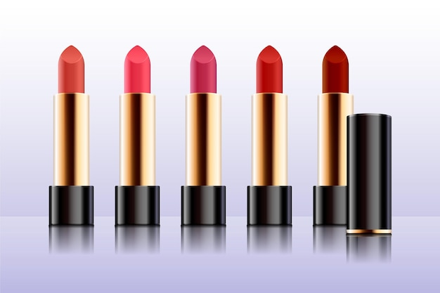 Collection of realistic lipsticks with different colors Free Vector