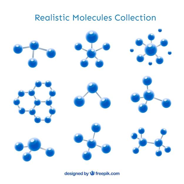 Raccolta di molecola realistica Vettore gratuito