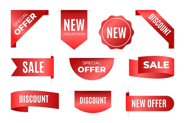 Collection of realistic sale tags with text Free Vector