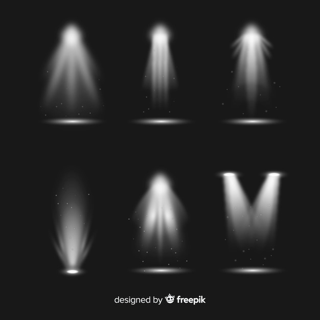 Collection of realistic spotlight illumination Free Vector
