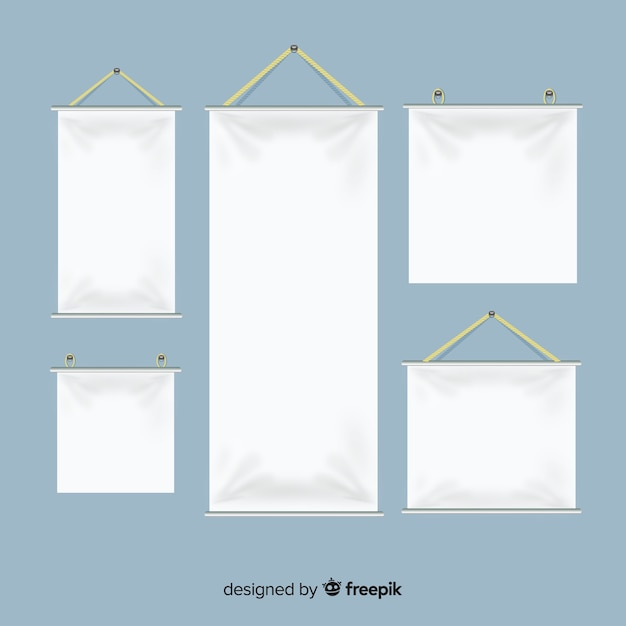 Collection of realistic textile banners Premium Vector