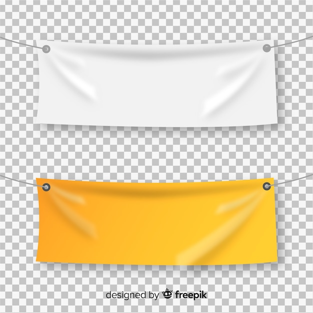 Collection of realistic textile banners Free Vector