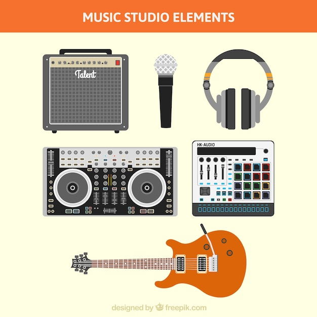 Collection of recording equipment in a music studio Free Vector