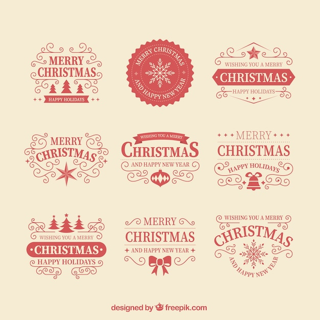 Collection of red christmas badges Premium Vector
