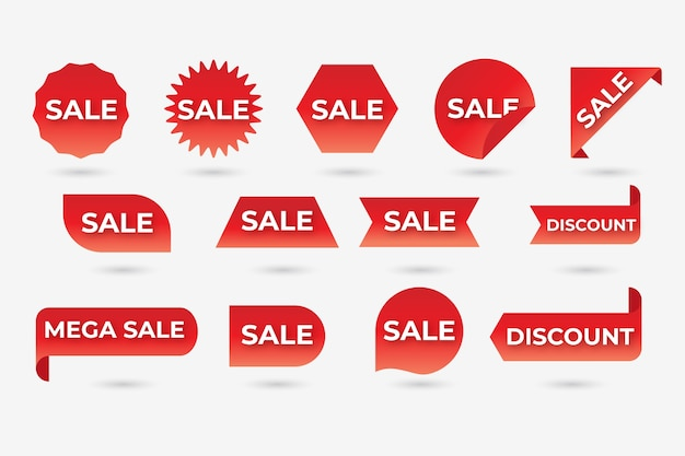 Collection of red sales label Free Vector