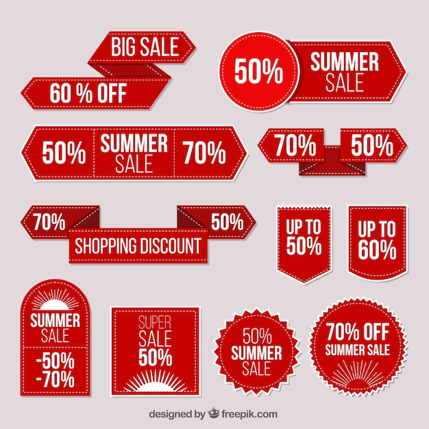 Collection of red stickers summer sale Free Vector