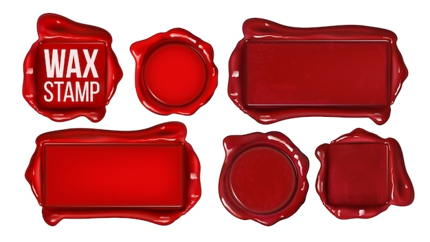 Collection of red wax stamp set copy space Premium Vector