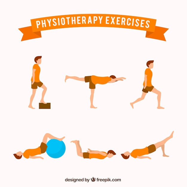 Collection of rehabilitation exercises Free Vector