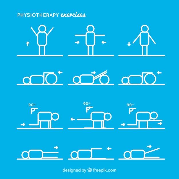 Collection of rehabilitation exercises Premium Vector