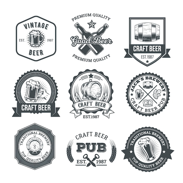 Collection of retro beer emblems, badges, stickers Free Vector