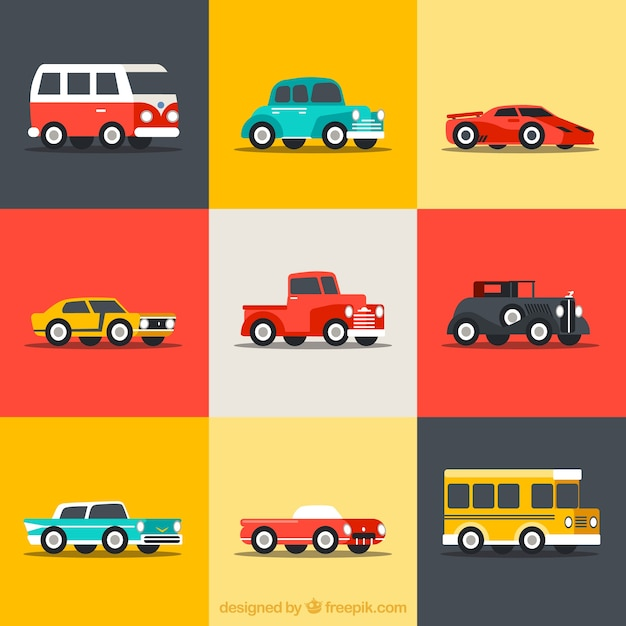 Collection of retro cars Free Vector