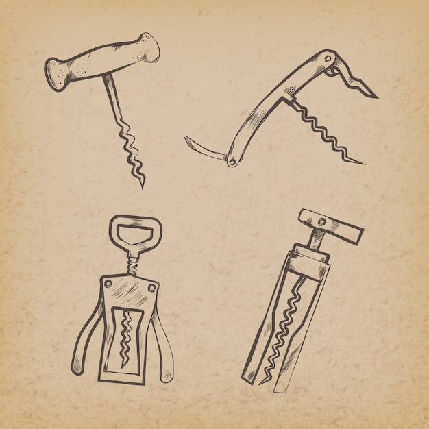 Collection of retro corkscrews on paper Free Vector