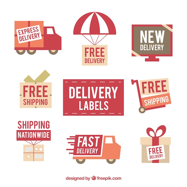 Collection of retro delivery sticker Free Vector