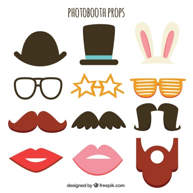 Collection of retro elements for photo booth Free Vector