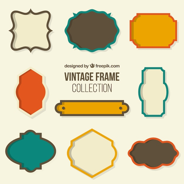Collection of retro frame Free Vector