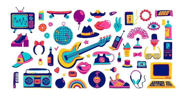 Premium Vector Collection Retro Icons Elements In Trendy 80s 90s Goods Hand Drawn Cartoon Style