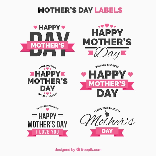 Collection of retro mother day stickers Free Vector