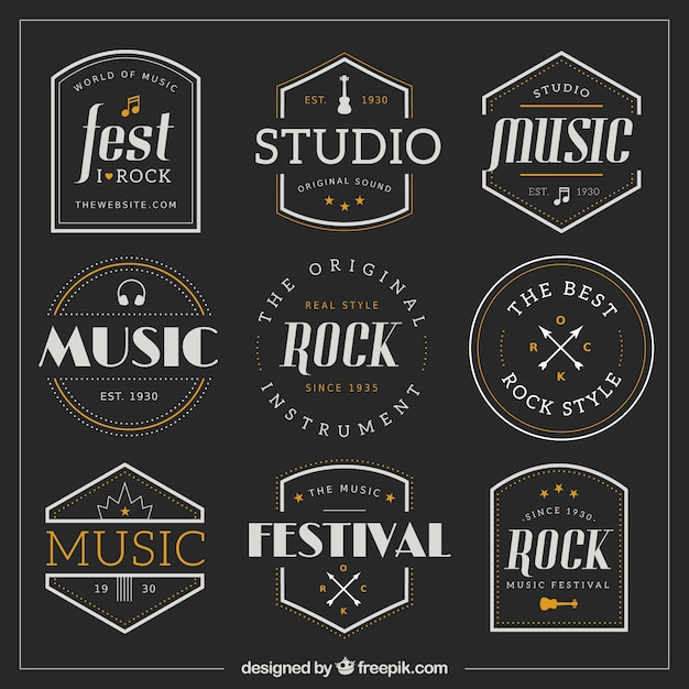 Collection of retro music badges Free Vector