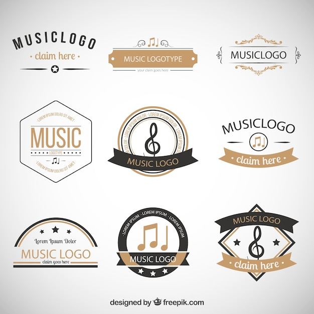 Collection of retro music logos Free Vector