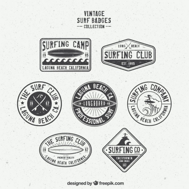Collection of retro surf badge Vector | Free Download