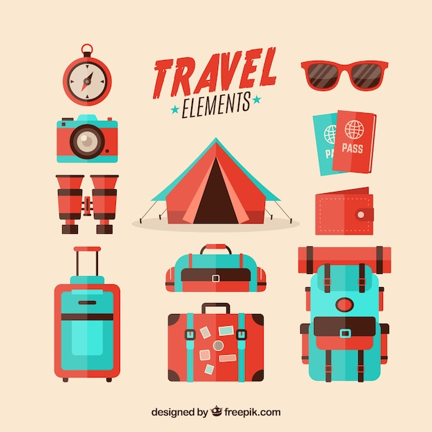 Collection of retro travel elements in flat design Free Vector