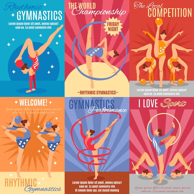 Collection of rhythmic gymnastics posters Free Vector