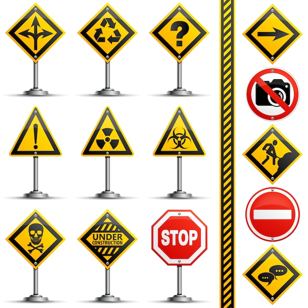 Collection road signs Premium Vector