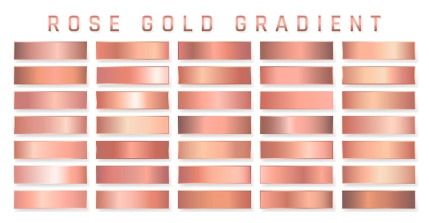 Collection of rose gold metallic gradient. brilliant plates with golden effect. Premium Vector