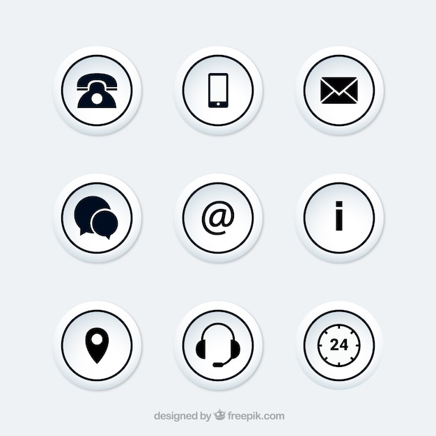 Collection of round contact buttons Free Vector